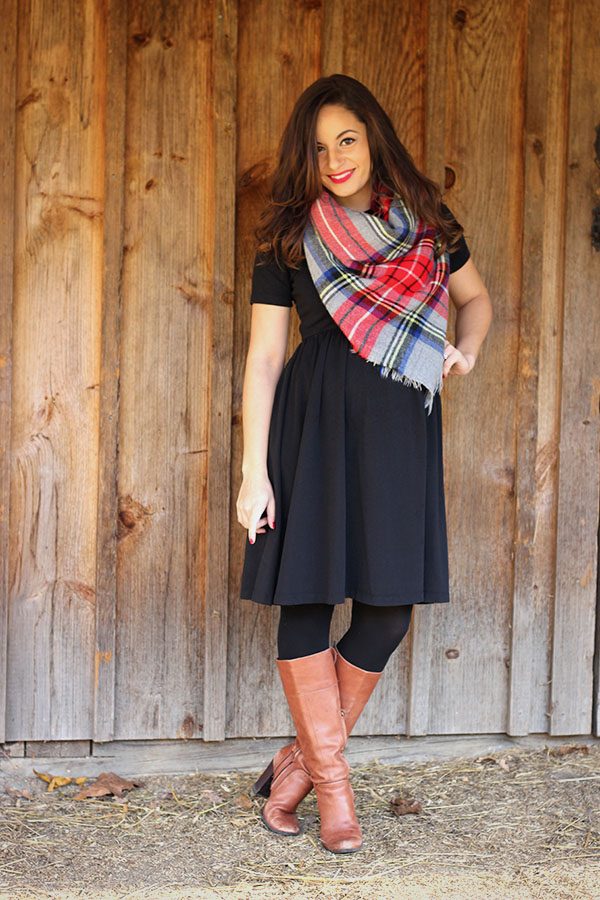 midi dress styled for winter with tights, riding boots and a tartan scarf from forever21