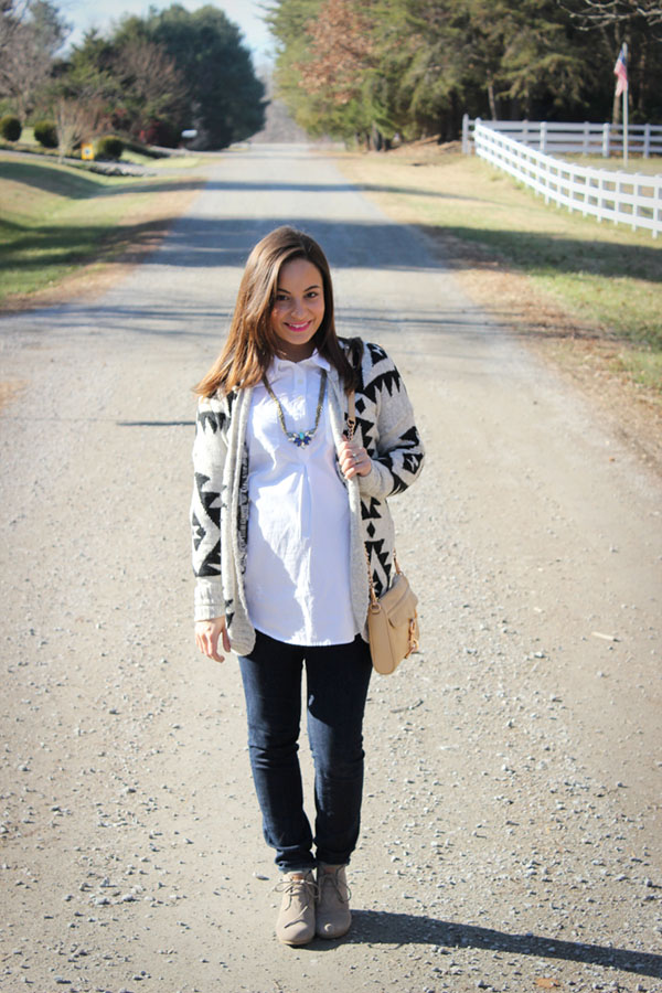 Hollister's Tribal Cardigan, Old Navy Maternity Top, TOMS Wedge Booties, Rocksbox Necklace, Rebecca Minkoff Bag