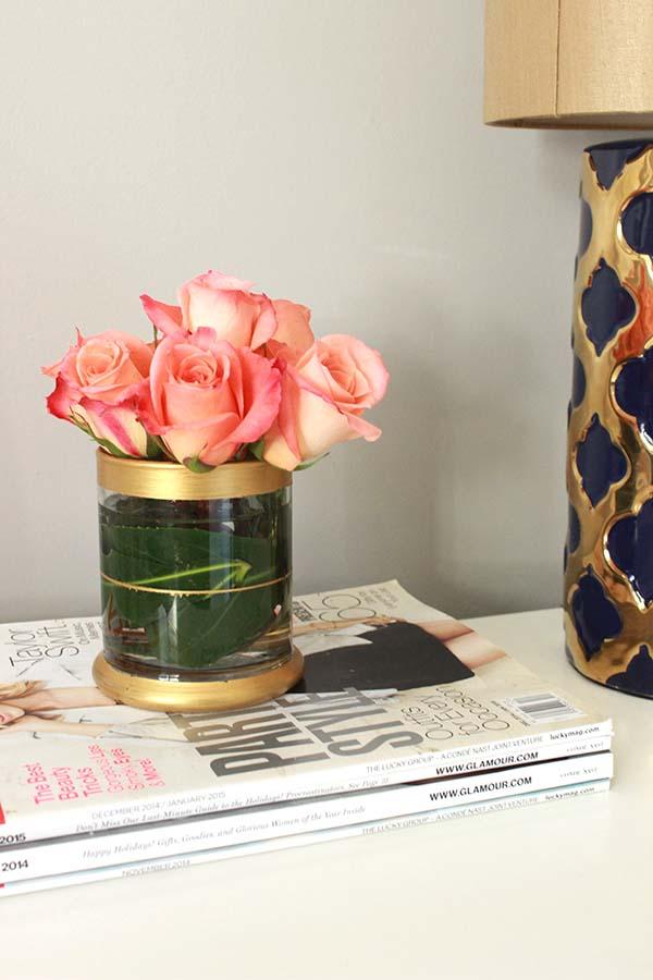 DIY Gold Rimmed Vase