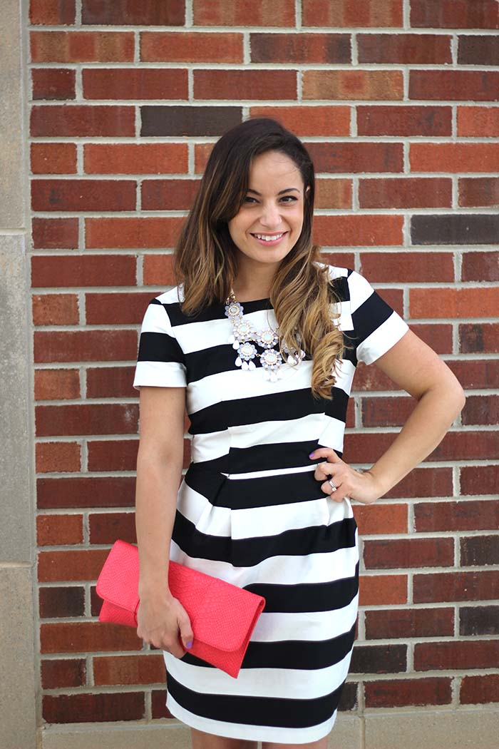 striped dress outfit - pumps and push-ups
