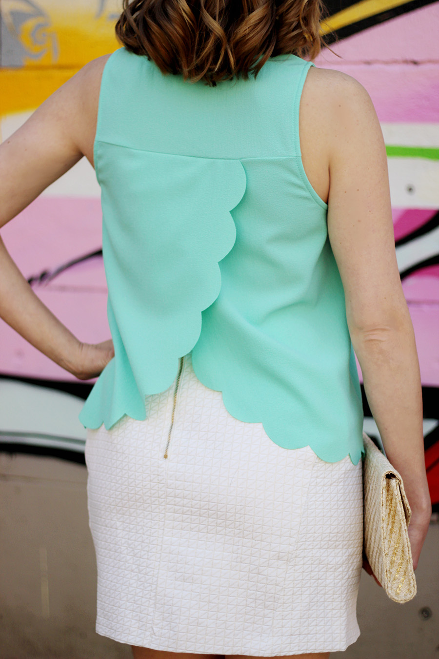 scalloped mint top