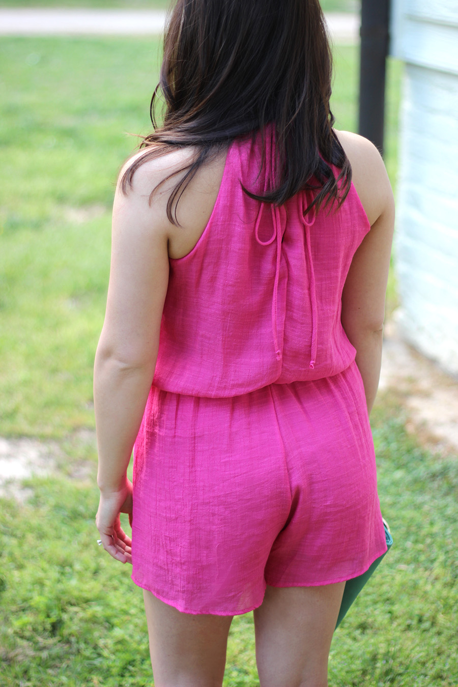 hot pink romper | pumps and push-ups