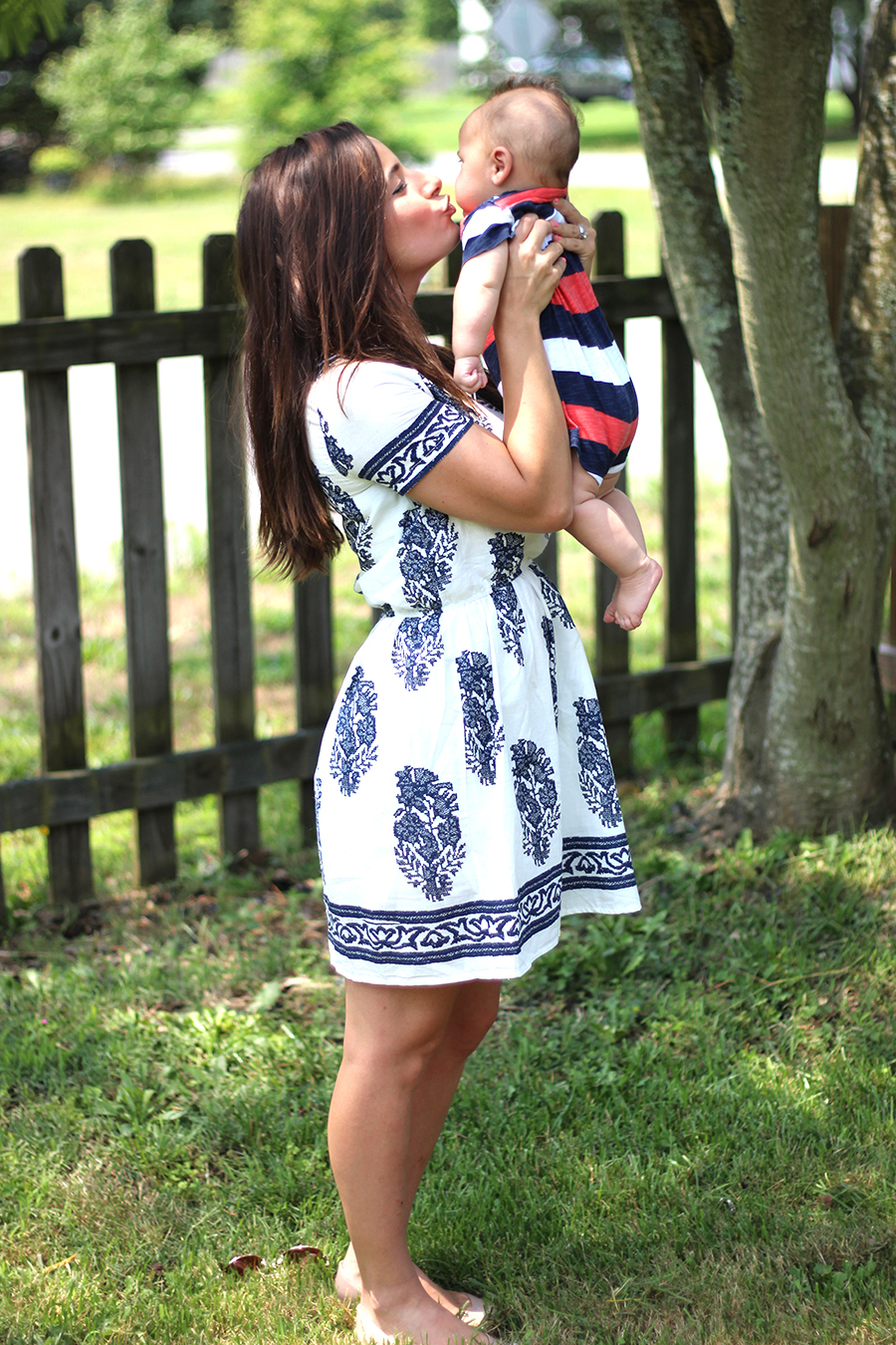 Blue and White Sundress | Pumps and Push-Ups