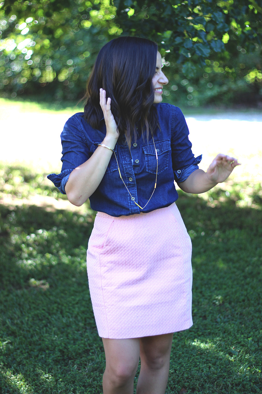 pink mini skirt outfit | pumps and push-ups