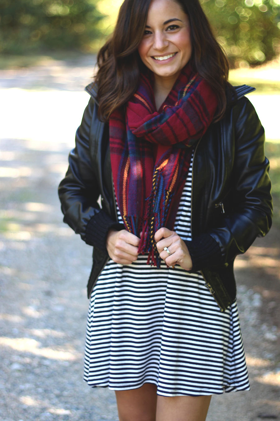Fall outfit, stripe dress | Pumps and Push-Ups