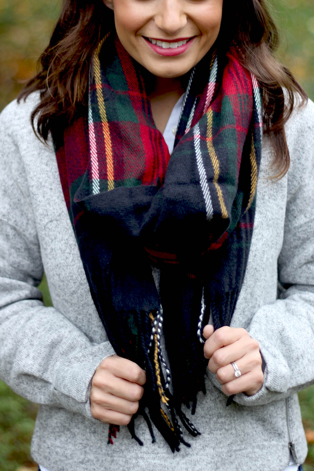 Navy Blanket Scarf | Fabletics | Pumps and Push-Ups Outfit