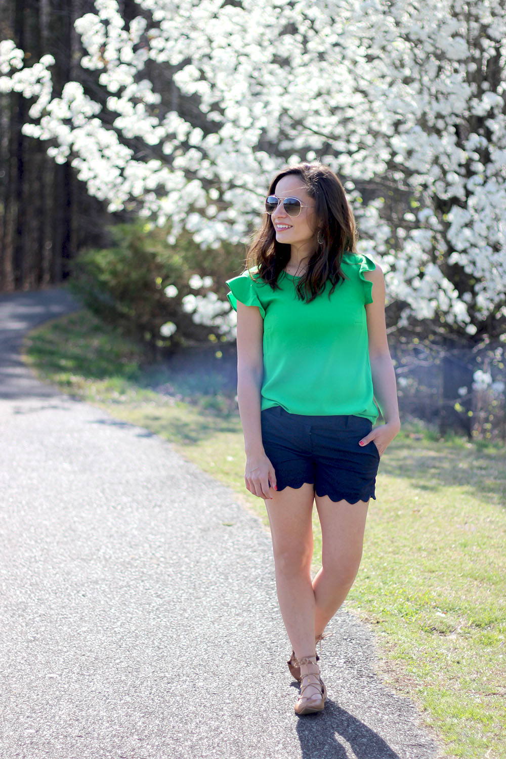 J. Crew flutter sleeve tank, J. Crew scalloped shorts and B.P. lace up flats
