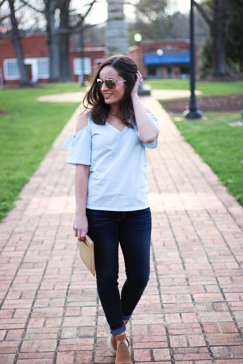 Cold Shoulder Banana Republic Top | Marc Fisher Wedges