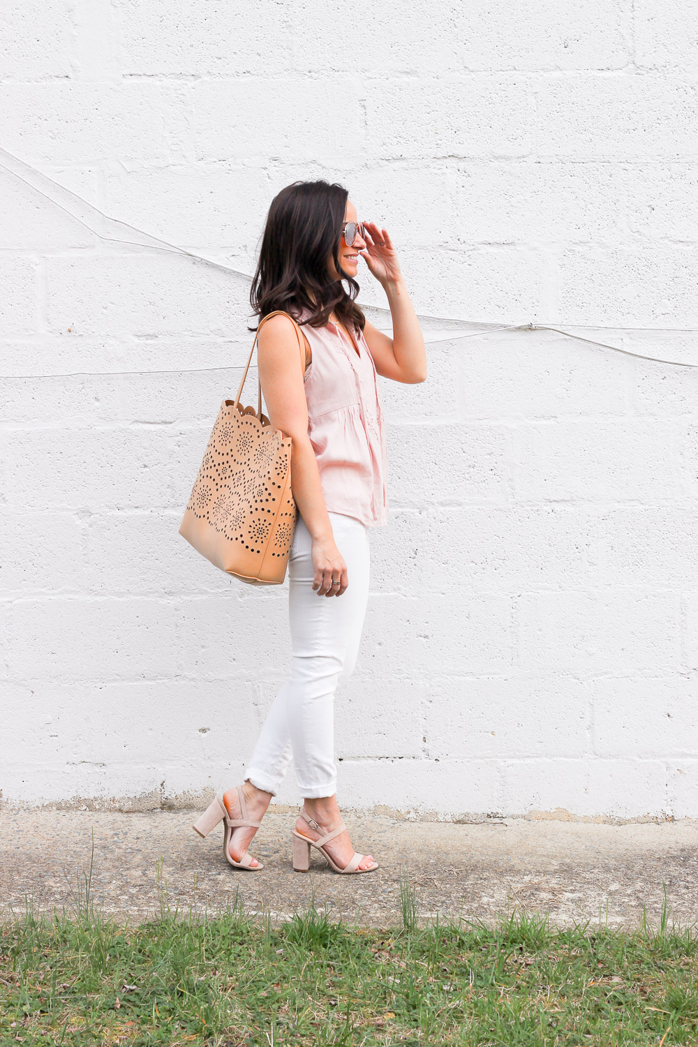 blush tank top, Chelsea28 bag, outfit inspiration
