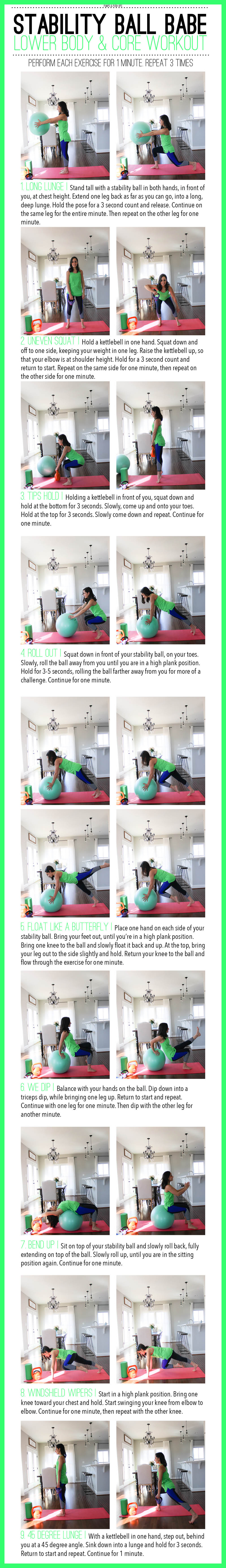 lower body and core workout using a stability ball and a kettlebell
