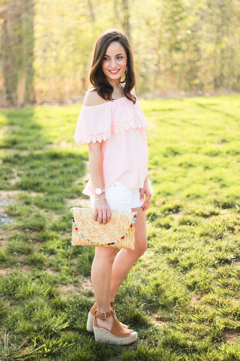 Blush OTS top outfit, Marc Fisher Annie Styled