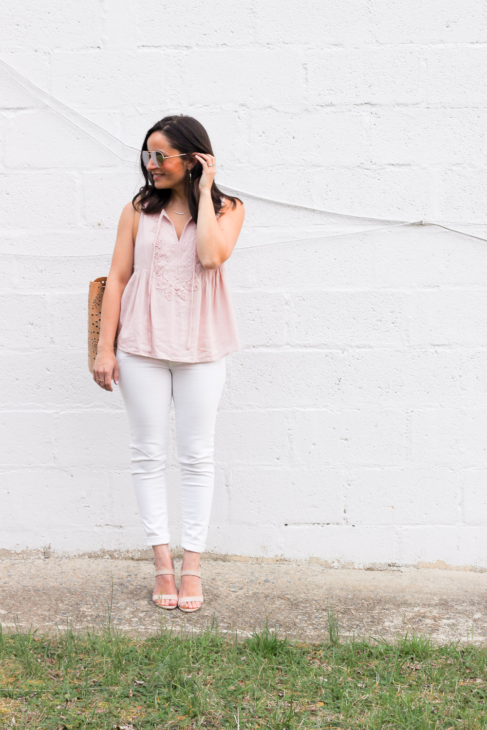 blush tank top outfit