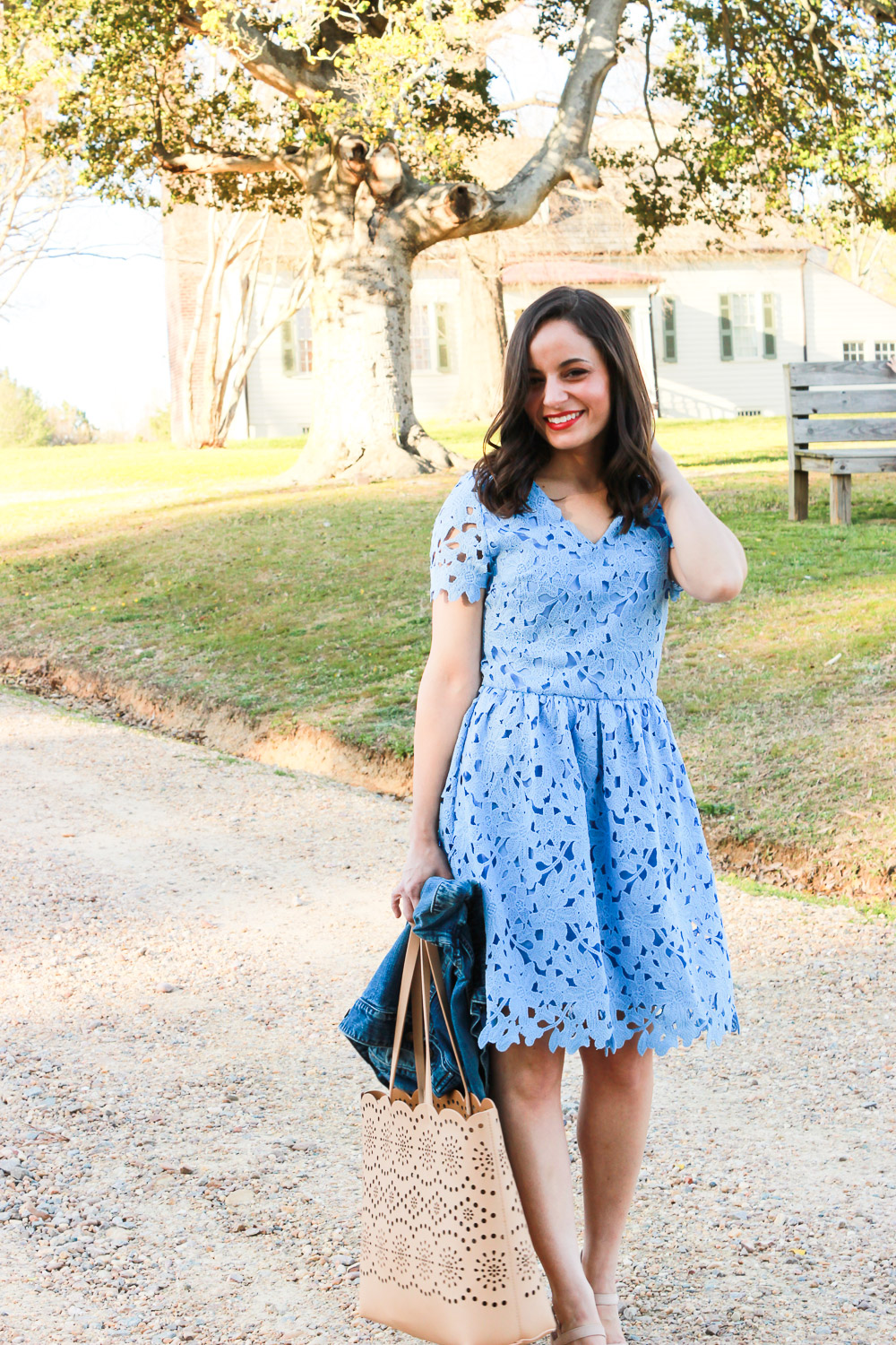 lace skater dress, styled for Easter