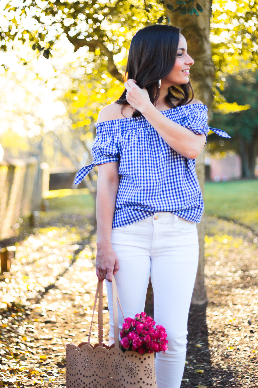 J. Crew off the shoulder top, preppy style
