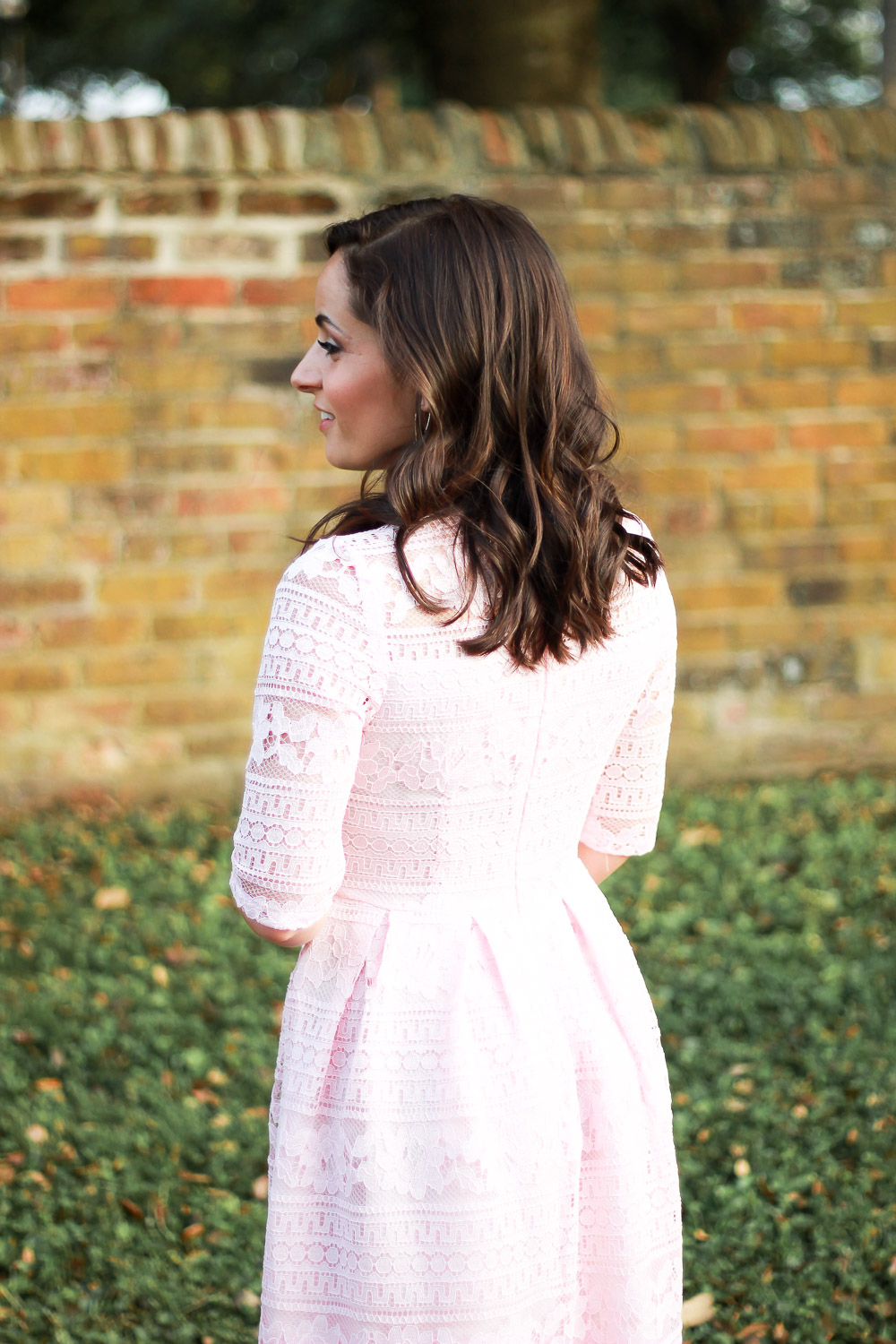 modest lace pink dress