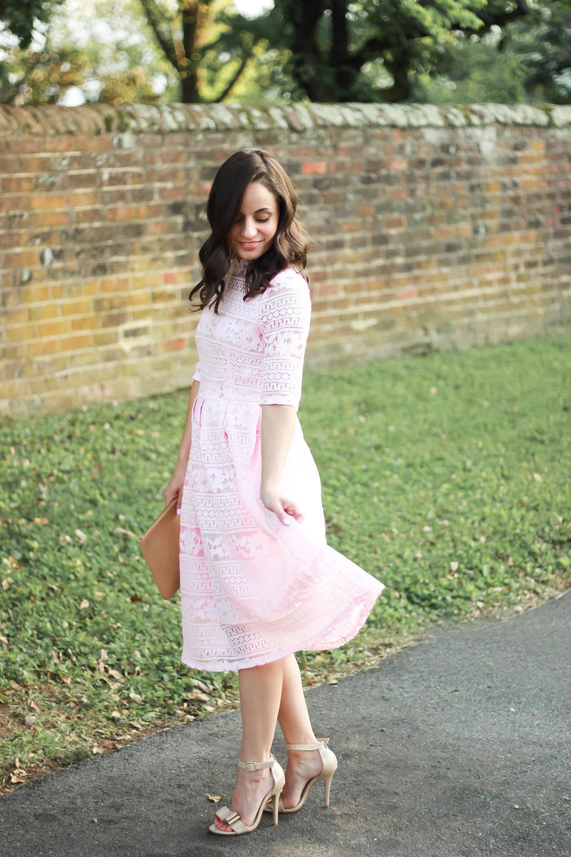 midi lace pink dress