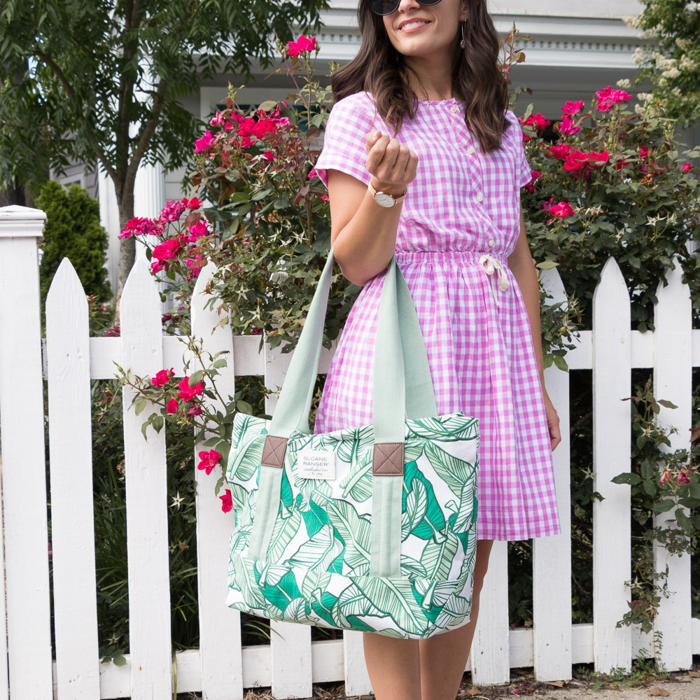 J. Crew Gingham Dress & Banana Leaf Tote