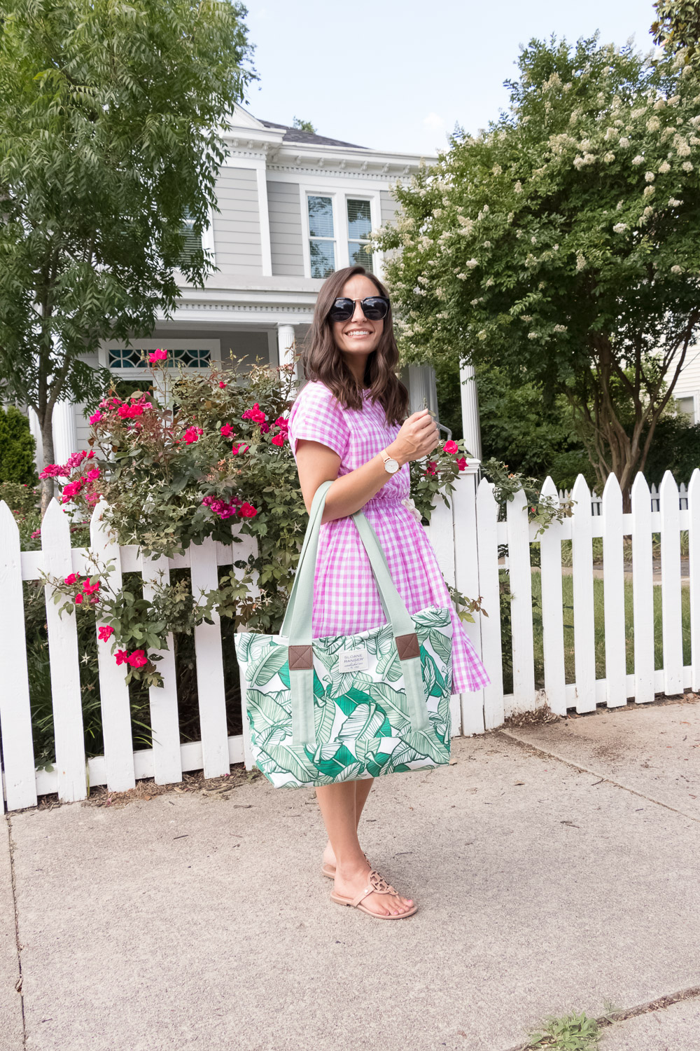 Pumps & Push-Ups blogger brooke, wearing a J. Crew Factory gingham dress