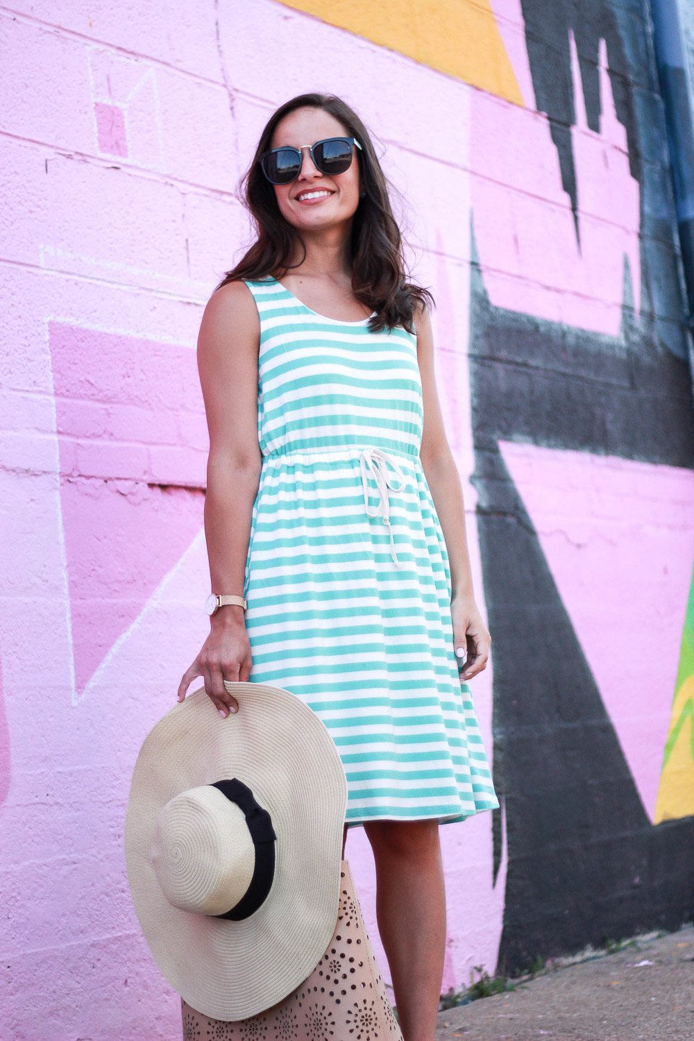 Blogger Brooke in a striped dress from PinkBlush