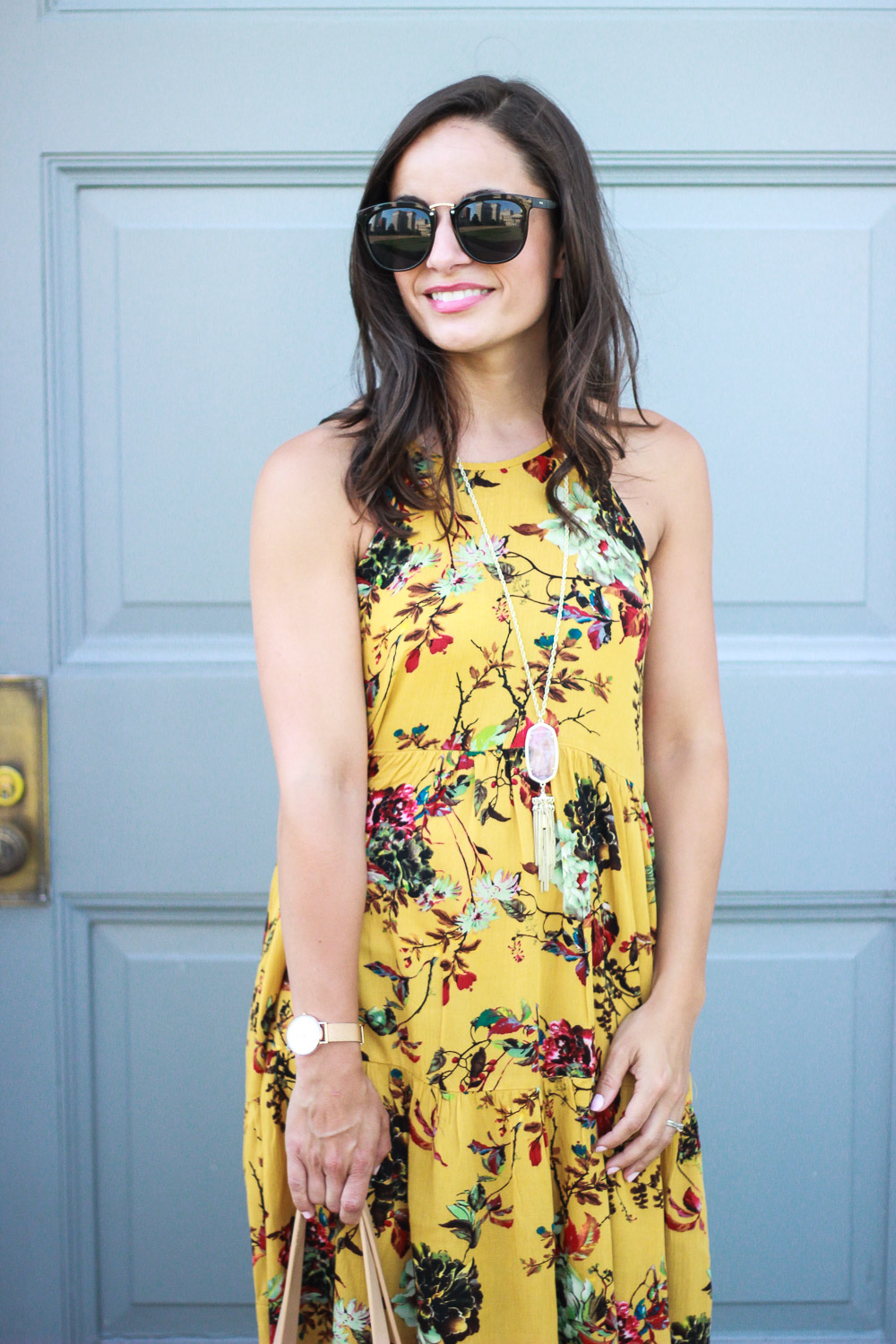 Boho outfit, floral dress