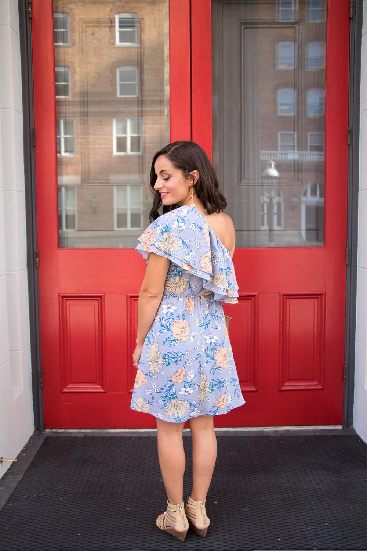 One Shoulder Floral Lush Dress