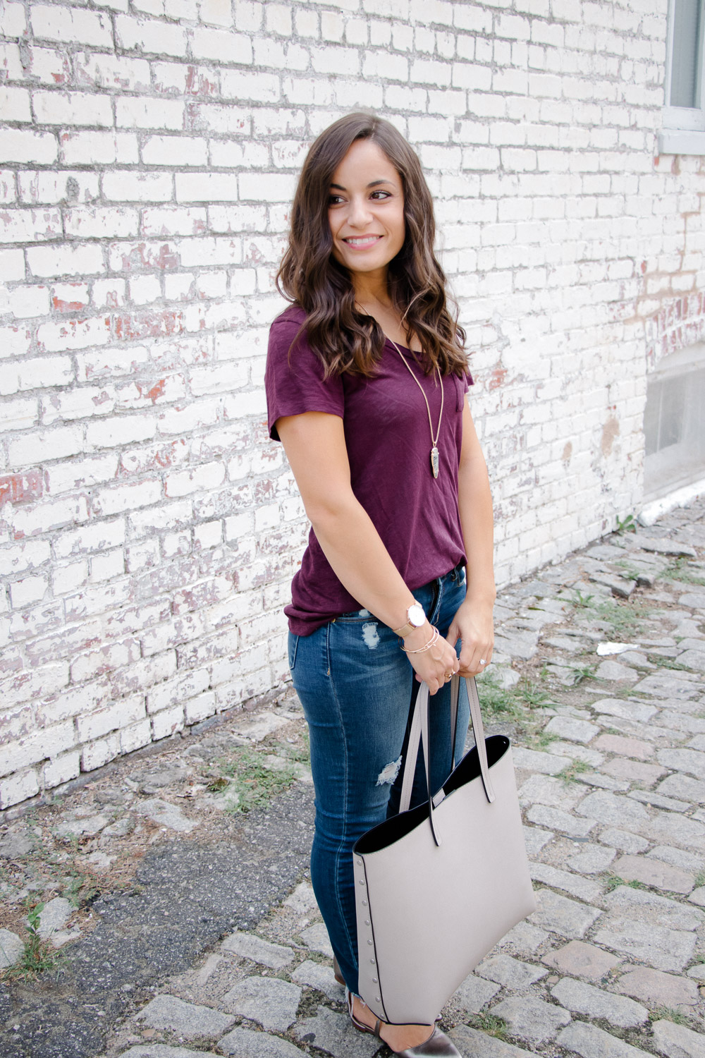 Caslon Tee and Articles of Society Jeans on Blogger Brooke of Pumps and Push-Ups
