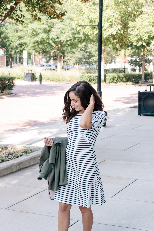 Black and White Striped Dress, Fall Fashion
