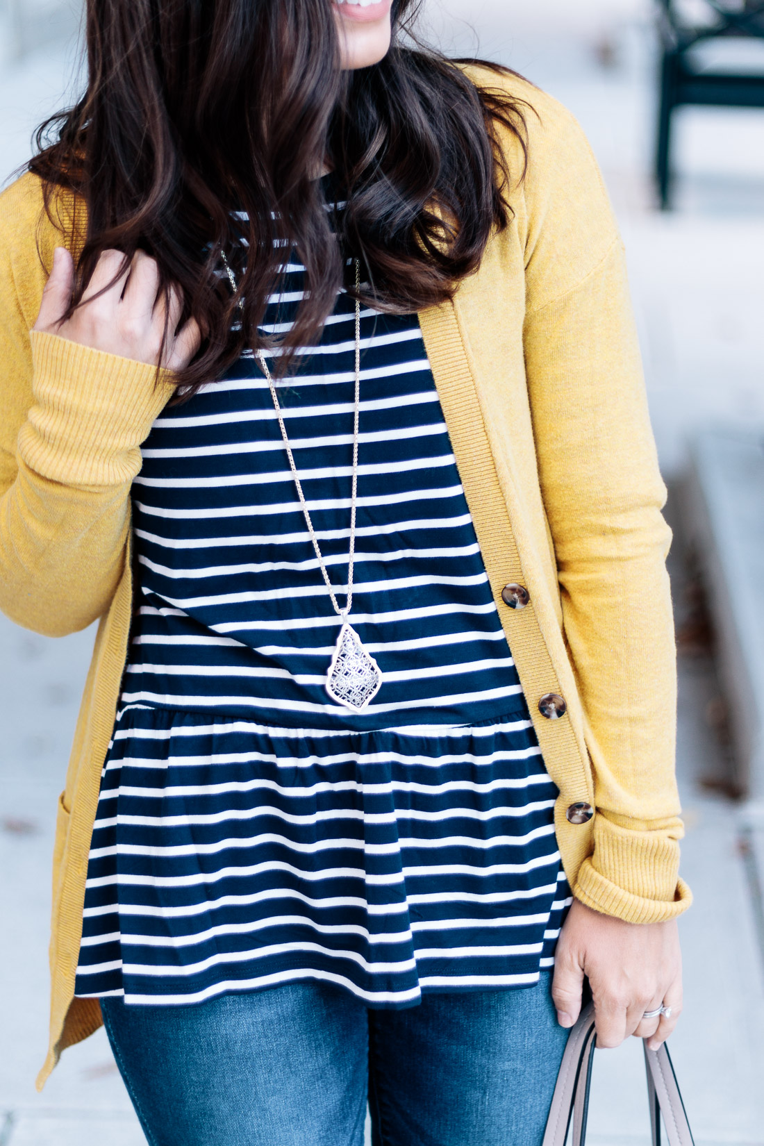 Yellow and Navy Fall Outfit