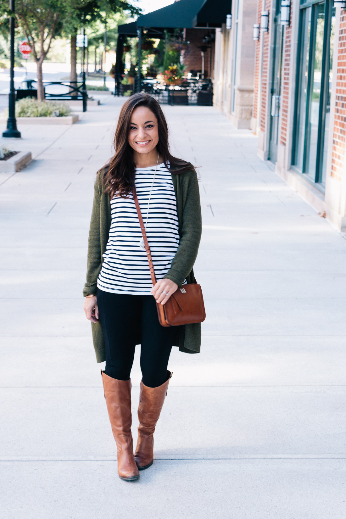 Classic Fall outfit with leggings and long cardigan and riding boots