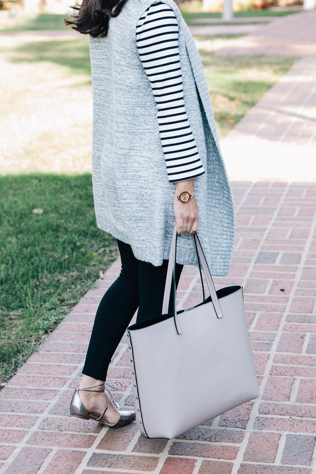 LOFT Spacedye Sweater Vest Outfit