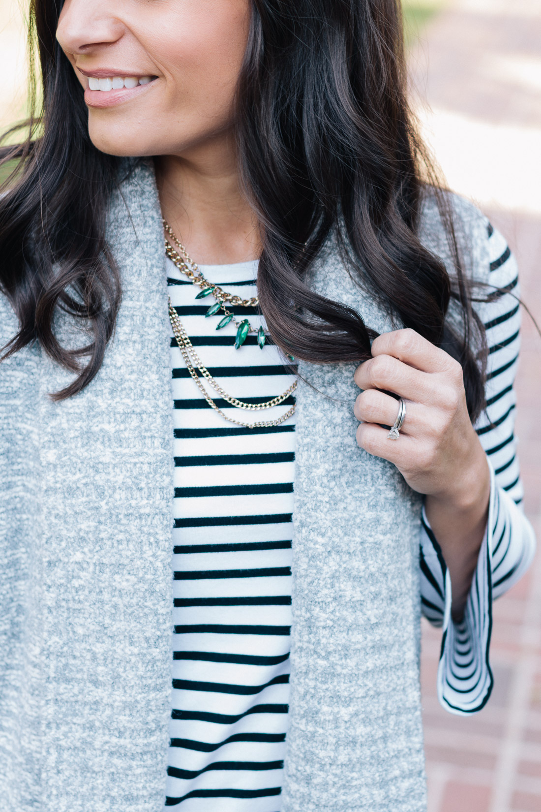 LOFT Sweater Vest, Ponte Leggings and Old Navy Bell-Sleeve Top Outfit