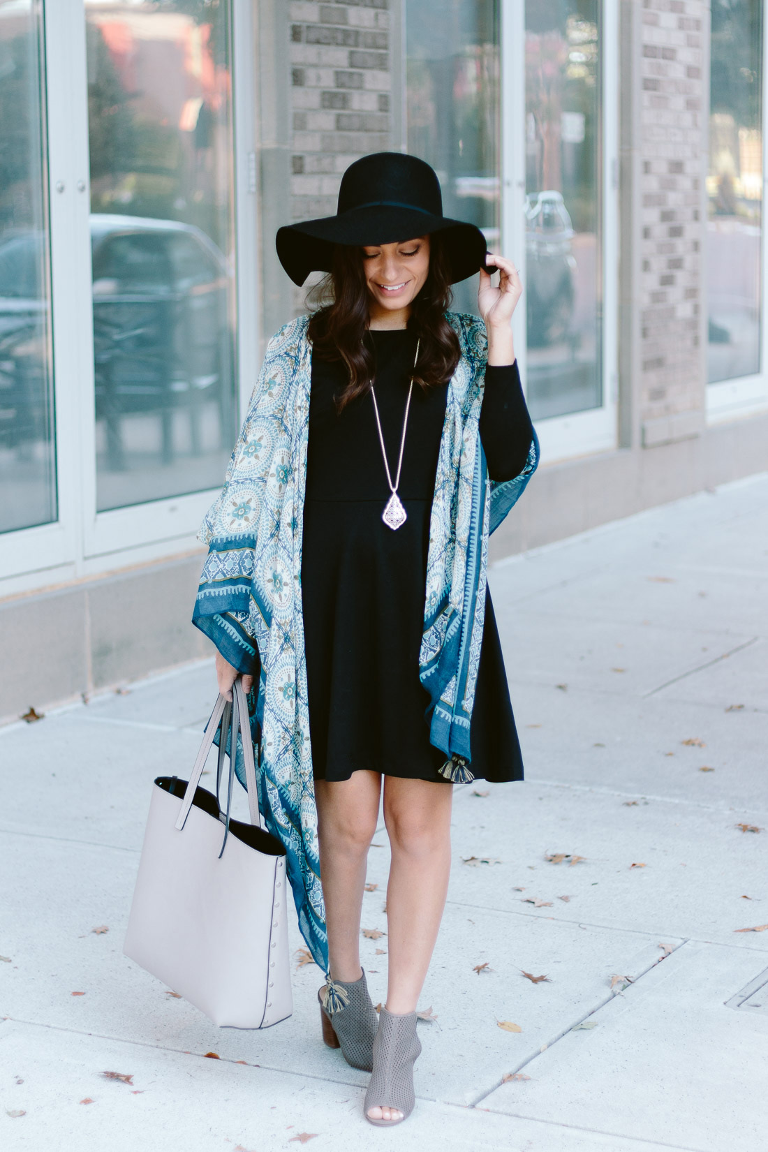Black dress for fall on petite style blogger Brooke of Pumps & Push-Ups