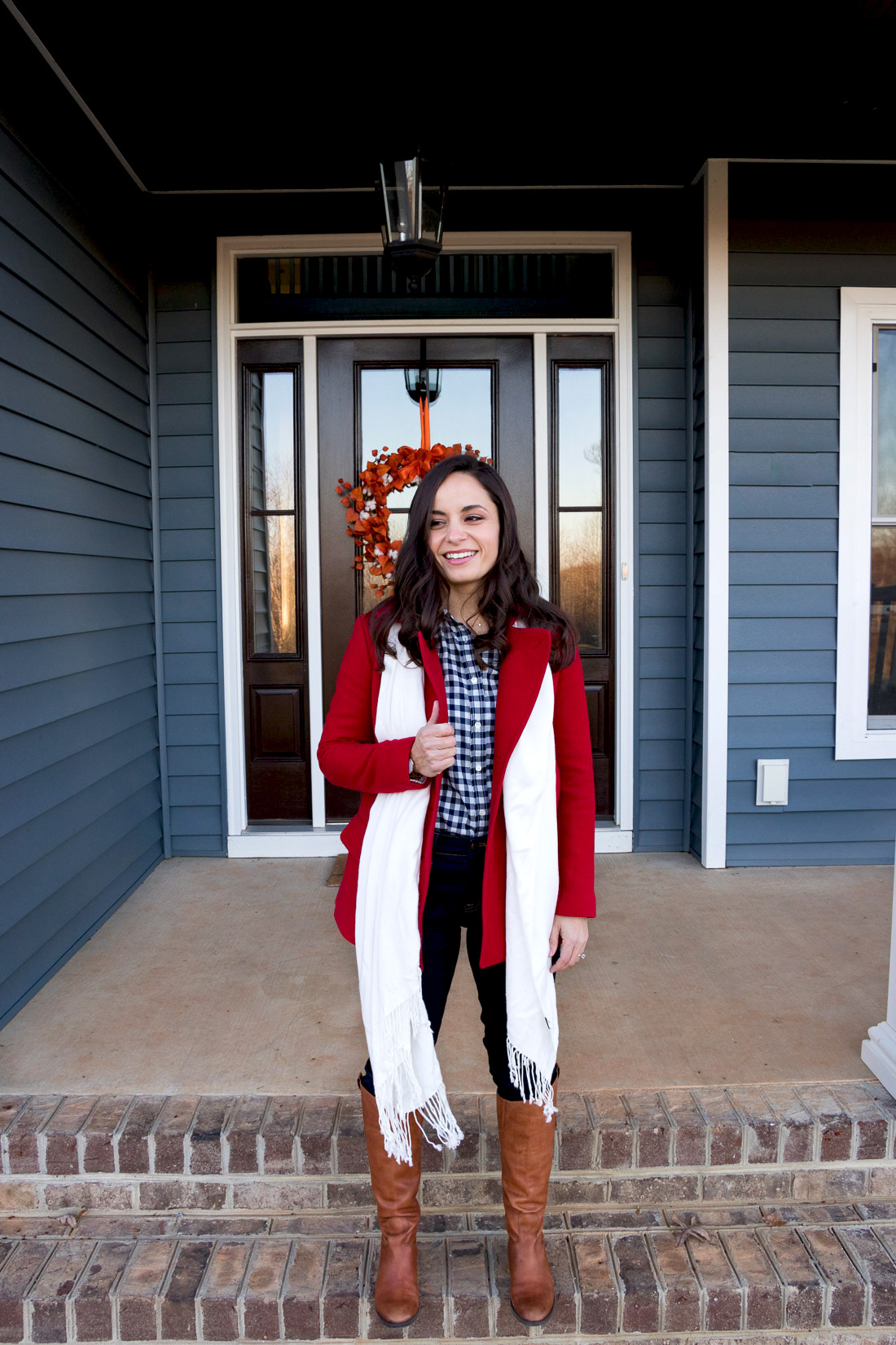 Winter outfit with riding boots and gingham on petite blogger, Brooke of Pumps & Push-Ups