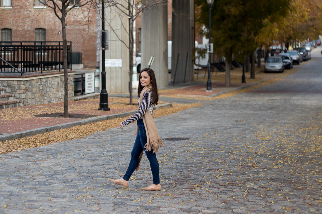 Petite Blogger Brooke of Pumps & Push-Ups, styling high waisted denim from Old Navy with J. Crew Tissue Turtleneck