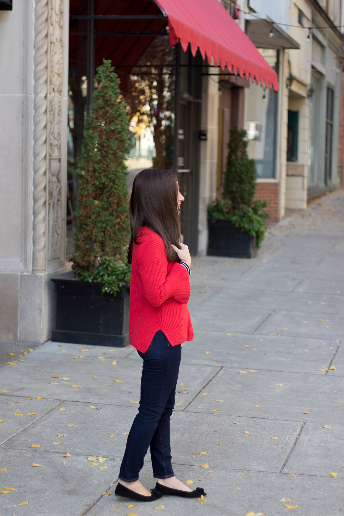 LOFT Red Sweater with J. Crew Factory Denim and J. Crew Lottie flats in suede