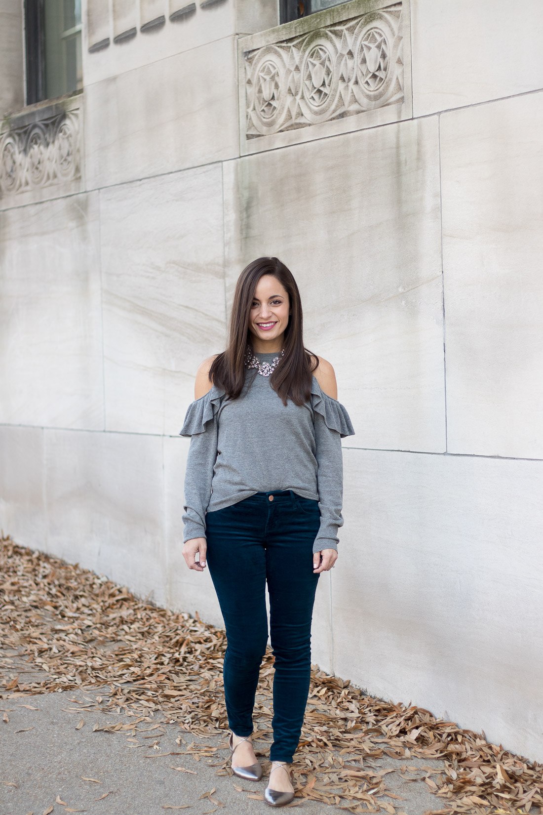 Velvet Pants and Cold Shoulder Outfit
