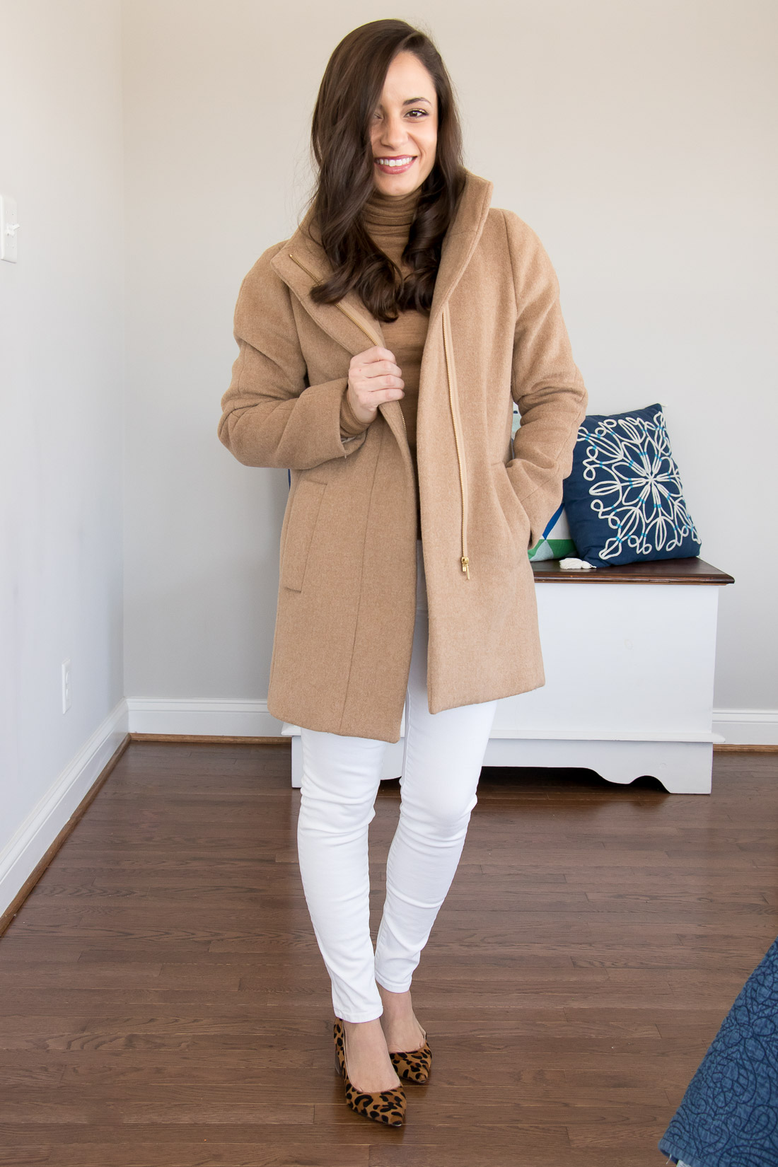 Camel coat outfit with winter white. White denim outfit for winter.
