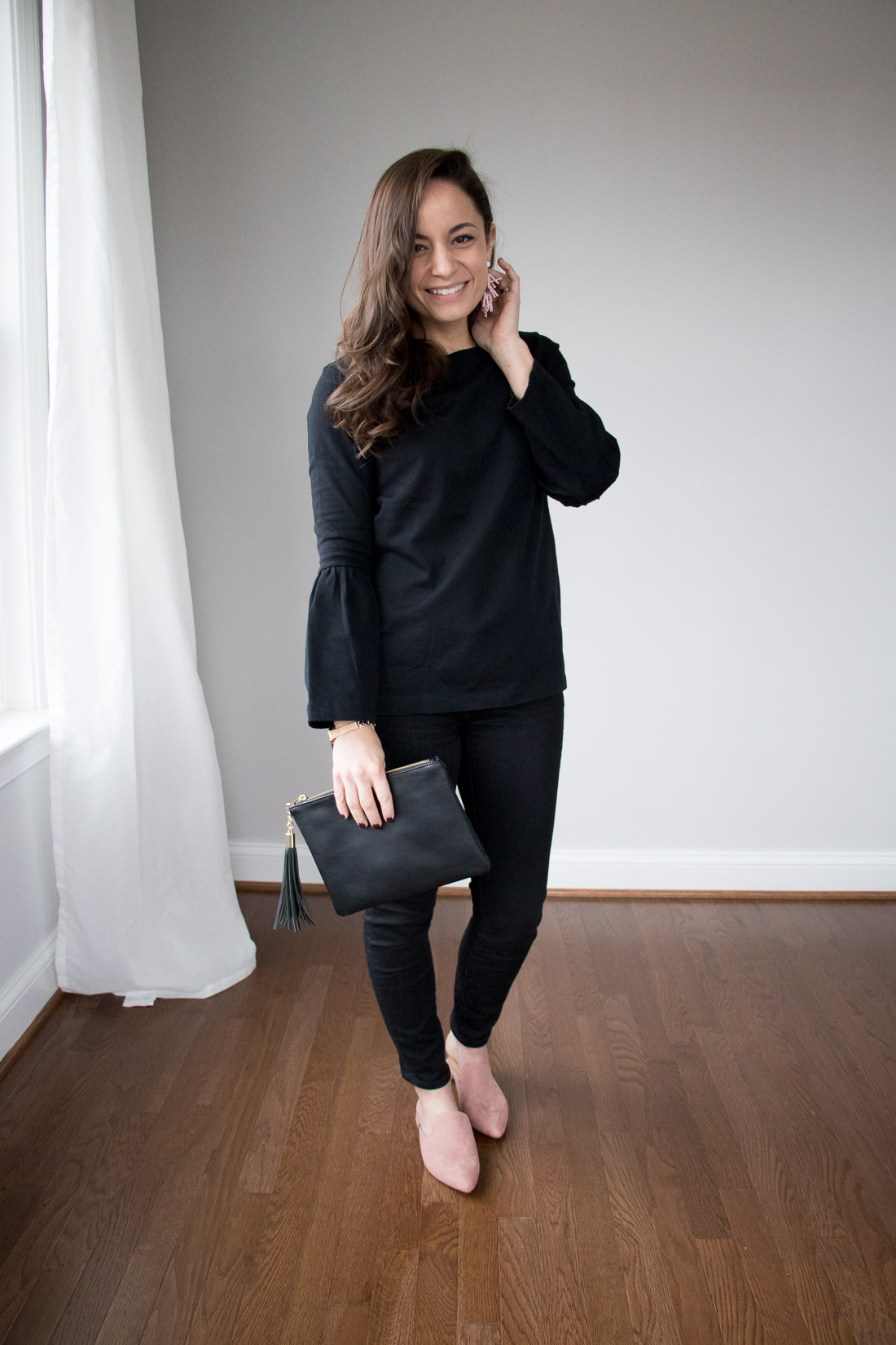 All Black Valentines Day Outfit - blush mules from Target A New Day