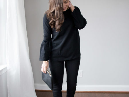 All black and blush outfit