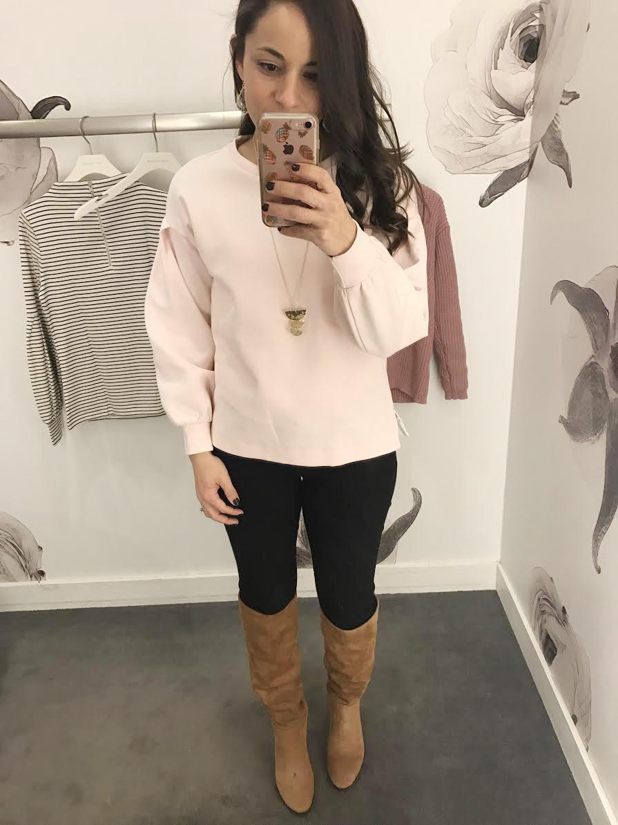 Ann Taylor petite blush sweatshirt