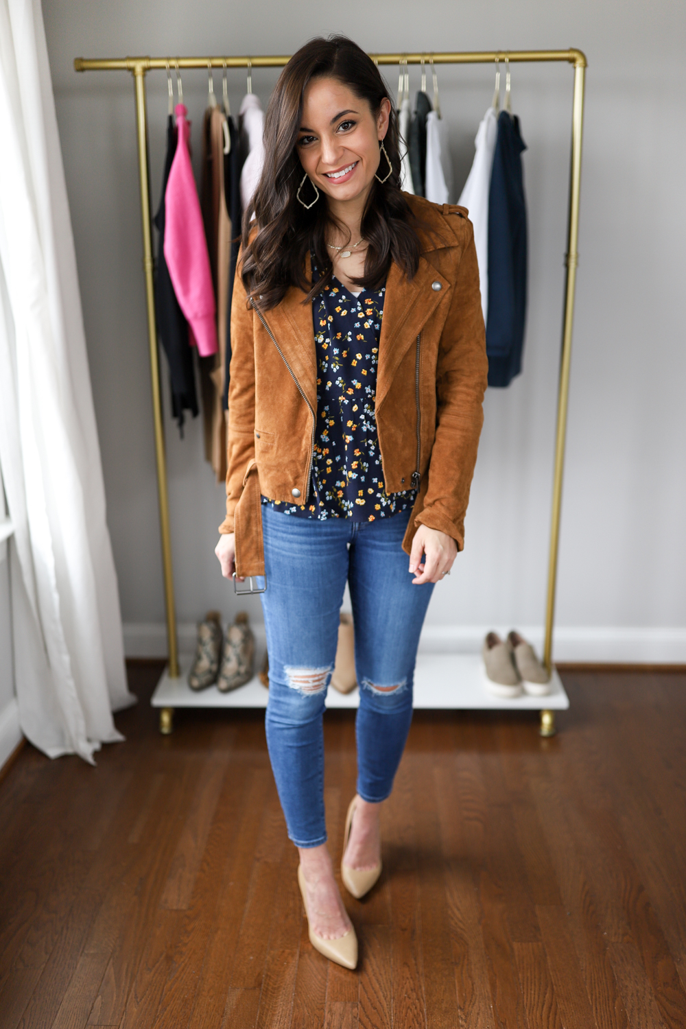 Brown moto jacket outfit via pumps and push-ups blog | petite style blog | petite style blogger