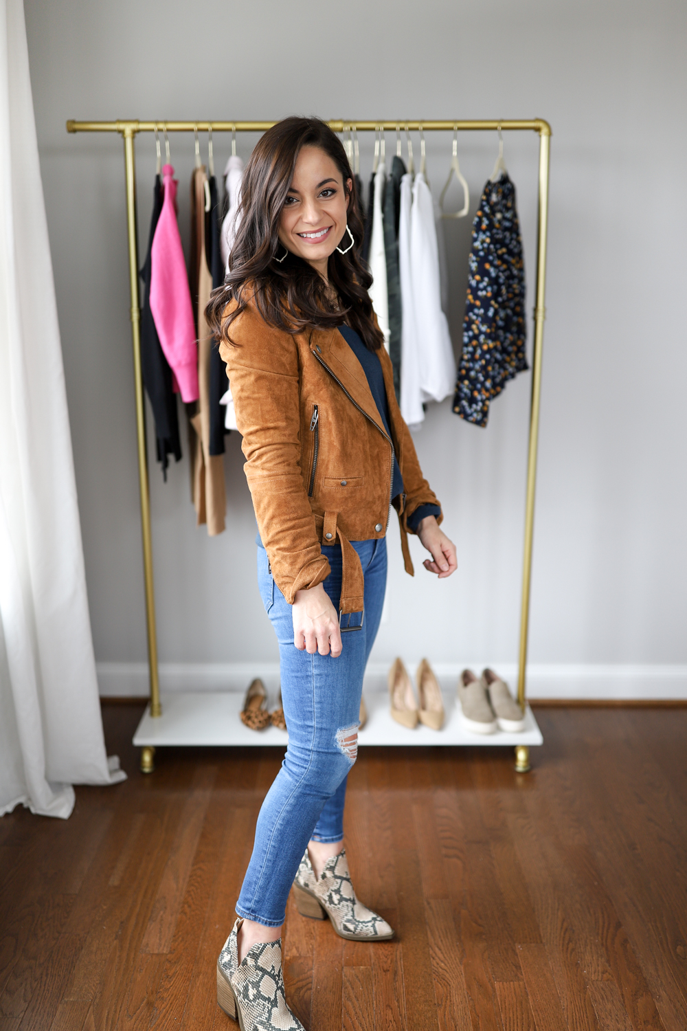 Moto jacket outfit via pumps and push-ups petite style blog | five casual date night outfits
