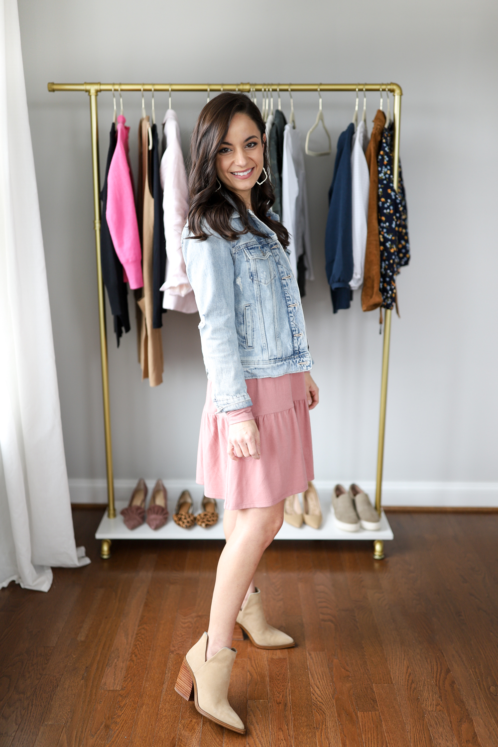 Pink dress outfit with booties via pumps and push-ups blog petite style blog | five casual date night outfits
