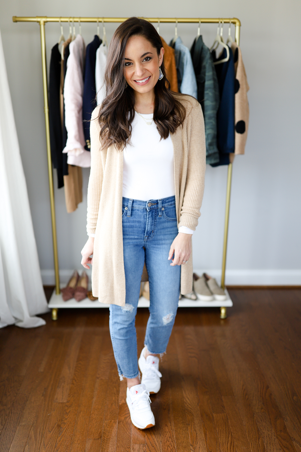White sneakers outfit with a cardigan via pumps and push-ups blog | petite style blogger | petite blogger | six ways to wear white sneakers